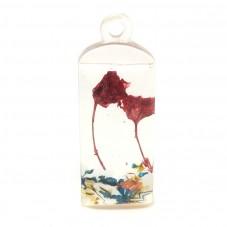 Pendentif en Résine avec Véritables Fleurs Séchées 15x30mm pour la Création de Bijoux Fantaisie - DIY