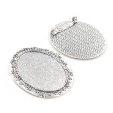 Support Broche Argenté pour Cabochon 30x40mm pour la Création de Bijoux Fantaisie - DIY
