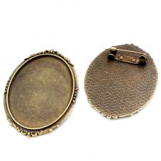 Support Broche Bronze pour Cabochon 30x40mm pour la Création de Bijoux Fantaisie - DIY