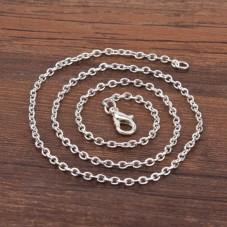 Collier Chaîne à Maille Argenté 3x2mm - 42,5cm de Longueur pour la Création de Bijoux Fantaisie - DIY