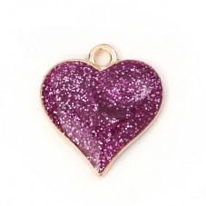 2 Breloques Coeur Rose en Résine Pailleté Métal Doré 17x16mm pour la Création de Bijoux Fantaisie - DIY