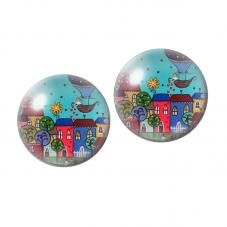 2 Cabochons en Verre Illustré Maisons Colorées 10mm pour la Création de Bijoux Fantaisie - DIY