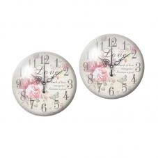2 Cabochons en Verre Illustré Horloge Vintage 10mm pour la Création de Bijoux Fantaisie - DIY