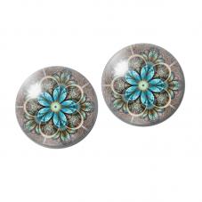 2 Cabochons en Verre Illustré Mandala 10mm pour la Création de Bijoux Fantaisie - DIY