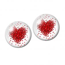 2 Cabochons en Verre Illustré Coeur Rouge 10mmpour la Création de Bijoux Fantaisie - DIY