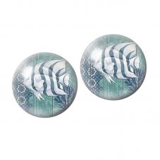 2 Cabochons en Verre Illustré  Poisson de Mer 10mm pour la Création de Bijoux Fantaisie - DIY