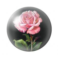 Cabochon en Verre Illustré Fleur Rose 12 ou 20mm pour la Création de Bijoux Fantaisie - DIY