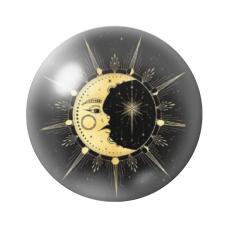 Cabochon en Verre Illustré Lune 12 ou 20mm pour la Création de Bijoux Fantaisie - DIY