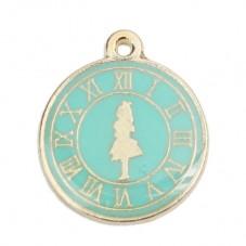 Breloque Horloge Montre Alice au Pays des Merveilles en Émail Turquoise Métal Doré 23x20mm