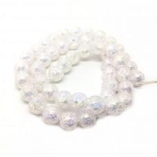 5 Perles en Verre Craquelé Blanc 8mm pour la Création de Bijoux Fantaisie - DIY