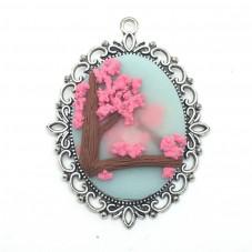 Breloque Pendentif Cerisier en Fimo Fait-Main 61x56mm pour la Création de Bijoux Fantaisie - DIY