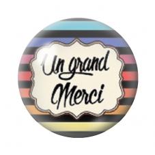 """Cabochon en Verre Illustré """"Un grand Merci""""12 à 25mm pour la Création de Bijoux Fantaisie - DIY"""
