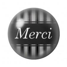 """Cabochon en Verre Illustré """"Merci""""12 à 25mm pour la Création de Bijoux Fantaisie - DIY"""