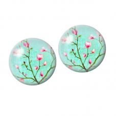2 Cabochons en Verre Branche Fleur Cerisier 10mm pour la Création de Bijoux Fantaisie - DIY