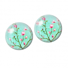 2 Cabochons en Verre Illustré Branche Fleur Cerisier 10mm pour la Création de Bijoux Fantaisie - DIY