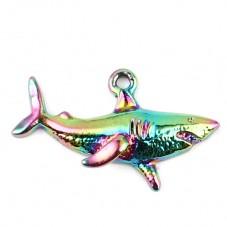 Breloque Requin Métal Coloré 32x19mm pour la Création de Bijoux Fantaisie - DIY