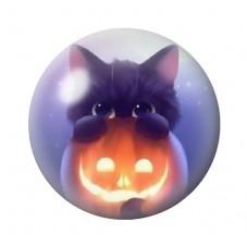 Cabochon en Verre Illustré Chat Citrouille Halloween 12 à 25mm pour la Création de Bijoux Fantaisie - DIY