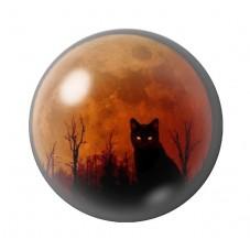 Cabochon en Verre Illustré Chat Lune Orange Halloween Gothique 12 à 25mm pour la Création de Bijoux Fantaisie - DIY
