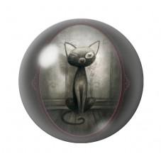 Cabochon en Verre Illustré Chat Noir Gothique 12 à 25mm pour la Création de Bijoux Fantaisie - DIY