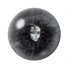 Cabochon en Verre Illustré Femme Chevelure Noire Gothique 12 à 25mm pour la Création de Bijoux Fantaisie - DIY