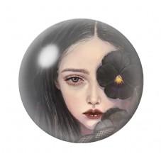 Cabochon en Verre Illustré Jeune Fille Fleur Noire Gothique 12 à 25mm pour la Création de Bijoux Fantaisie - DIY