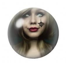 Cabochon en Verre Illustré Femme Cassure Gothique 12 à 25mm pour la Création de Bijoux Fantaisie - DIY