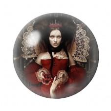 Cabochon en Verre Illustré Reine Rouge Gothique 12 à 25mm pour la Création de Bijoux Fantaisie - DIY