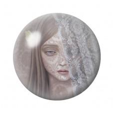 Cabochon en Verre Illustré Jeune Fille Gothique 12 à 25mm pour la Création de Bijoux Fantaisie - DIY