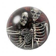 Cabochon en Verre Illustré Couple Squelette Gothique 12 à 25mm pour la Création de Bijoux Fantaisie - DIY