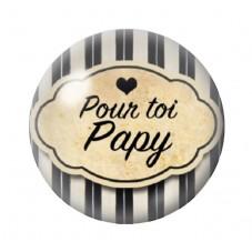 """Cabochon en Verre Illustré """"Pour toi Papy"""" 12 à 25mm pour la Création de Bijoux Fantaisie - DIY"""