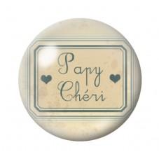 """Cabochon en Verre Illustré """"Papy Chéri"""" 12 à 25mm pour la Création de Bijoux Fantaisie - DIY"""