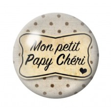 """Cabochon en Verre Illustré """"Mon Petit Papy Chéri"""" 12 à 25mm pour la Création de Bijoux Fantaisie - DIY"""