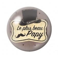 """Cabochon en Verre Illustré """"Le Plus Beau des Papy"""" 12 à 25mm pour la Création de Bijoux Fantaisie - DIY"""