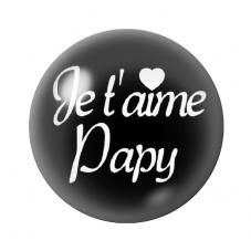 """Cabochon en Verre Illustré """"Je t'aime Papy"""" 12 à 25mm pour la Création de Bijoux Fantaisie - DIY"""