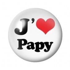 """Cabochon en Verre Illustré """"J'aime Papy"""" 12 à 25mm pour la Création de Bijoux Fantaisie - DIY"""