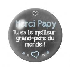 """Cabochon en Verre Illustré """"Merci Papy"""" 12 à 25mm pour la Création de Bijoux Fantaisie - DIY"""