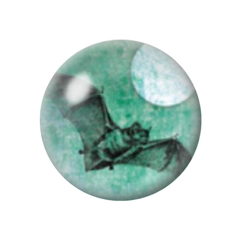 Cabochon en Verre Illustré Chauve-Souris halloween 12 à 25mm