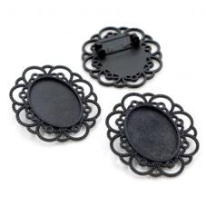 Support Broche Noir pour Cabochon 18x25mm pour la Création de Bijoux Fantaisie - DIY