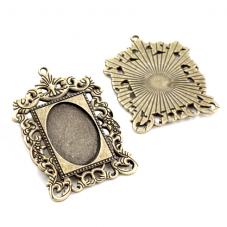 Support Pendentif Cadre Bronze pour Cabochon 18x25mm pour la Création de Bijoux Fantaisie - DIY