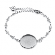Support Bracelet Argenté Étoiles en Acier inoxydable pour Cabochon 20mm pour la Création de Bijoux Fantaisie - DIY