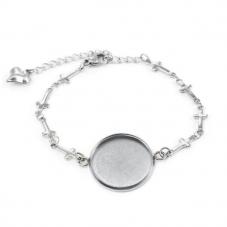 Support Bracelet Argenté Croix en Acier inoxydable pour Cabochon 20mm  pour la Création de Bijoux Fantaisie - DIY