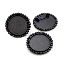 Support Broche Noir pour Cabochon 25mm pour la Création de Bijoux Fantaisie - DIY