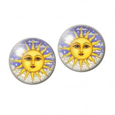 2 Cabochons en Verre Illustré Soleil 12mm pour la Création de Bijoux Fantaisie - DIY