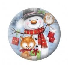 Cabochon en Verre Illustré Bonhomme de Neige Renard Noël 12 à 25mm pour la Création de Bijoux Fantaisie - DIY
