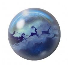 Cabochon en Verre Illustré Père-Noël  Traineau Lune 12 à 25mm pour la Création de Bijoux Fantaisie - DIY