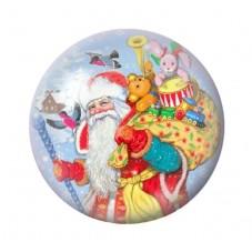 Cabochon en Verre Illustré Père-Noël Hotte Cadeaux 12 à 25mm pour la Création de Bijoux Fantaisie - DIY