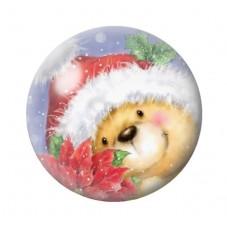 Cabochon en Verre Illustré Ourson Bonnet de Noël 12 à 25mm pour la Création de Bijoux Fantaisie - DIY
