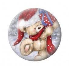Cabochon en Verre Illustré Ourson Cadeau de Noël 12 à 25mm pour la Création de Bijoux Fantaisie - DIY