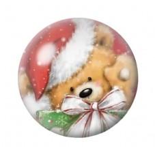 Cabochon en Verre Illustré Ourson de Noël 12 à 25mm pour la Création de Bijoux Fantaisie - DIY