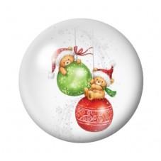 Cabochon en Verre Illustré Ourson Boules de Noël 12 à 25mm pour la Création de Bijoux Fantaisie - DIY